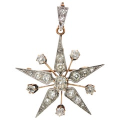Star Diamond and Yellow Gold Pendant, Late 20th Century