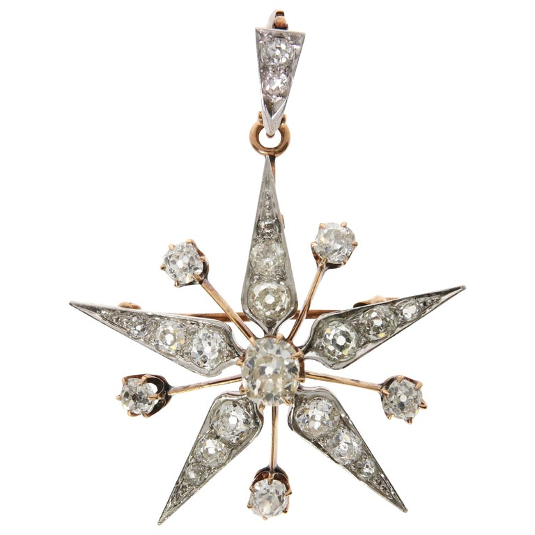 Star Diamond and Yellow Gold Pendant, Late 20th Century
