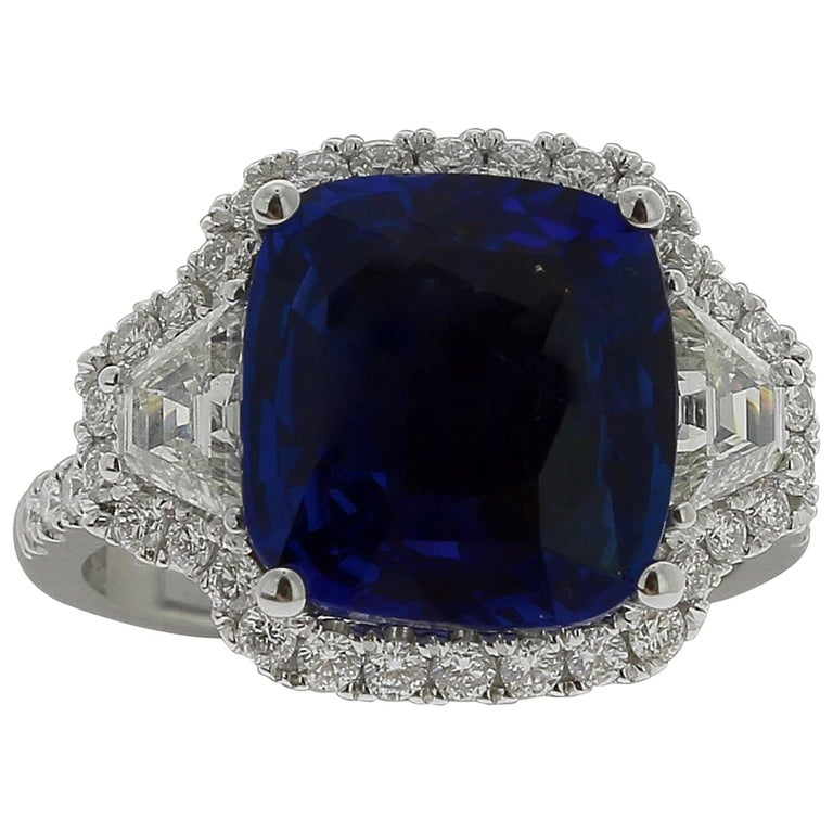 Blue Sapphire Ring 7.07 Carat No Heated GRS Certified