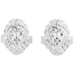 Lion Head Cufflink in Sterling Silver