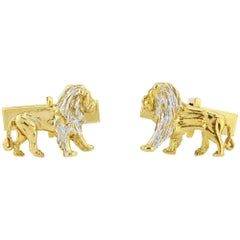 Lion Cufflink in Sterling Silver and 24 Karat Gold Vermeil