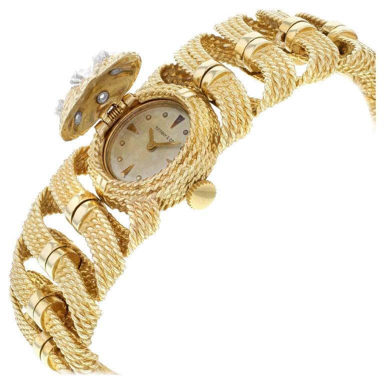Vintage Tiffany & Co. 14K Yellow Gold & 0.25cts Diamonds Hand-Wind Ladies Watch