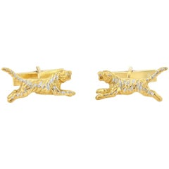 Tiger Cufflinks in Sterling Silver and 24-Karat Gold Vermeil