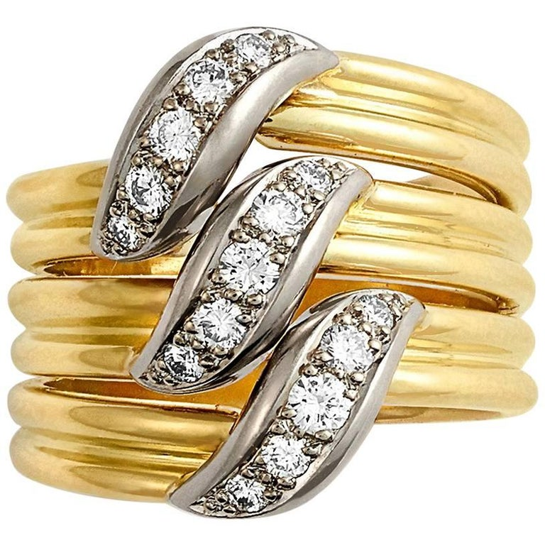 Cartier 18 Carat Yellow Gold and Diamond Triple Row Ring