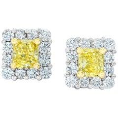 1.18 Carat Natural Fancy Yellow Diamond Platinum and 18k Yellow Gold Earrings