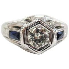 Antique 1930s Art Deco Ring, 0.52 Carat Diamond, Side Sapphires, 14 Karat