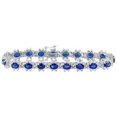 Blue Sapphire and Diamond Flower Bracelet