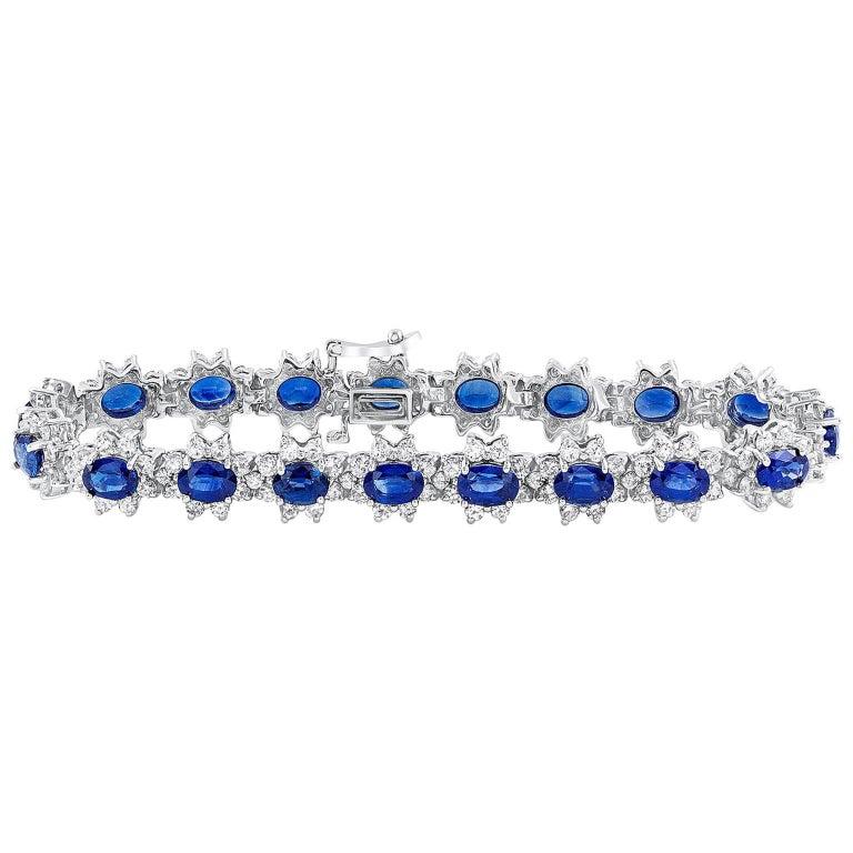Blue Sapphire and Diamond Flower Bracelet
