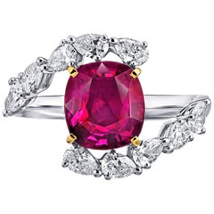 3.36 Carat Cushion Red Ruby and Diamond Platinum and 18k Yellow Gold Ring
