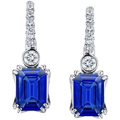 2.19 Carat Emerald Cut Blue Sapphire and Diamond Platinum Earrings
