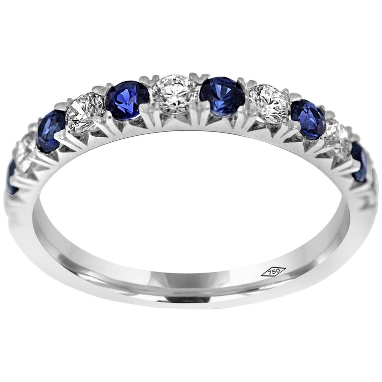 Eternity Band Half Set with Diamonds and Blue Sapphire gemstones