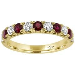 Eternity Band Half Set with Diamonds and Ruby gemstones