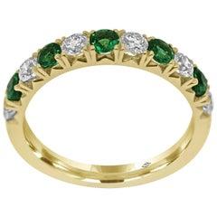 Eternity Band Half Set with Diamonds and Emerald gemstones