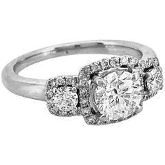 .70 Carat Diamond Estate Engagement Ring 18 Karat White Gold