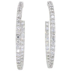 18 Karat White Gold Inside Out Diamond Hoop Earrings
