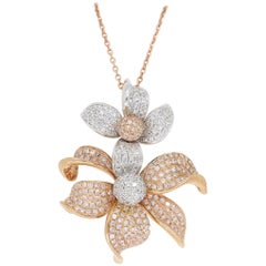 Two-Tone Rose and White Gold Diamond Flower Necklace
