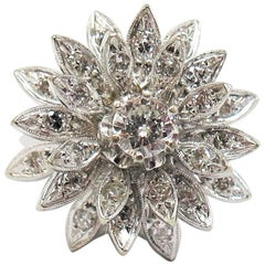 1950s Domed Diamond Cluster Flower Ring or Total Diamond Weight 0.86 Carat