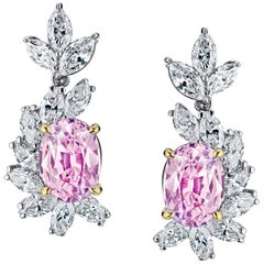 3.69 Carat Oval Natural  Padparadscha Sapphire and Diamond Platinum Earrings