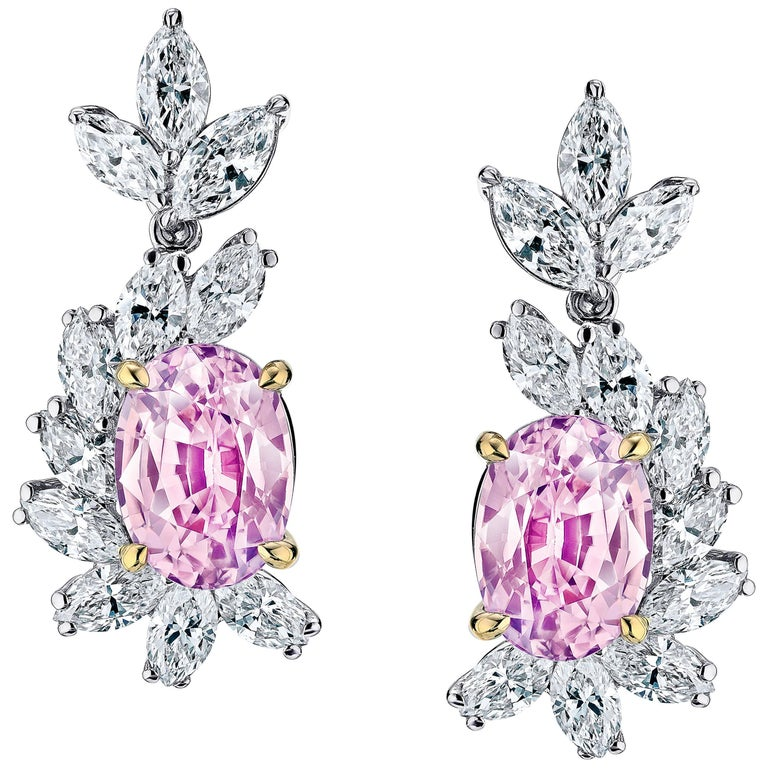3.69 Carat Oval Padparadscha Sapphire and Diamond Earrings
