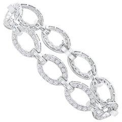 6.30 Carat Total Diamond Encrusted Link Bracelet