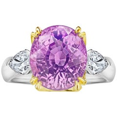 9.08 Carat Oval Pink Sapphire and Diamond Platinum and 18k Yellow Gold Ring