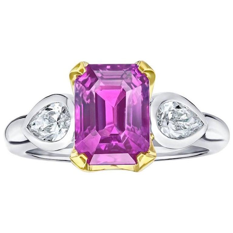 4.04 Carat Emerald Cut Pink Sapphire and Diamond Ring