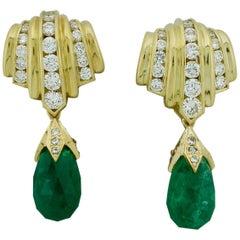 Emerald Briolette and Diamond Earrings in 18 Karat Yellow Gold