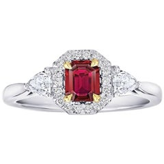 .59 Carat Emerald Cut Natural No Heat Ruby and Diamond Platinum and 18k Ring
