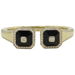 Yellow Gold Maria Canale Black Onyx and Diamond Cuff