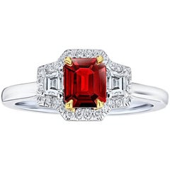 .72 Carat Emerald Cut  Natural No Heat Ruby and Diamond Platinum and 18k Ring