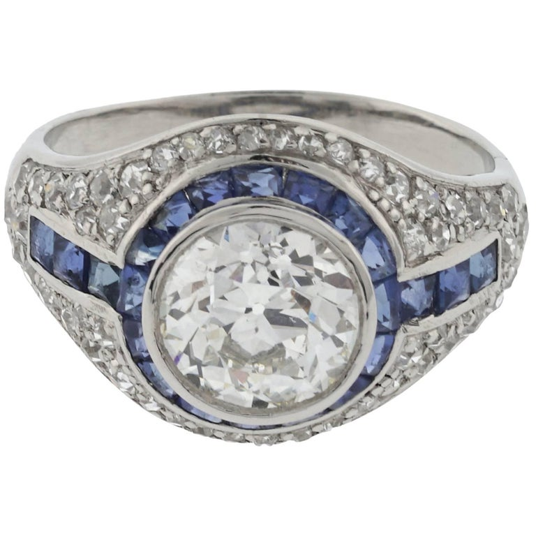 GIA Certified 1.73 Carat HVS2 Old European Centre Ring with Sapphires Platinum