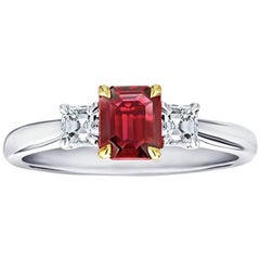 .73 Carat Emerald Cut Natural No Heat Ruby and Diamond Platinum and 18k Ring
