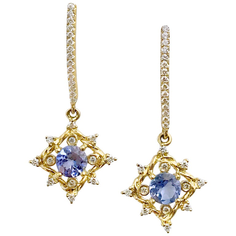 Ari Tanzanite Drop Post Earrings 14 Karat Gold 0 336 Carat Diamonds In Stock For