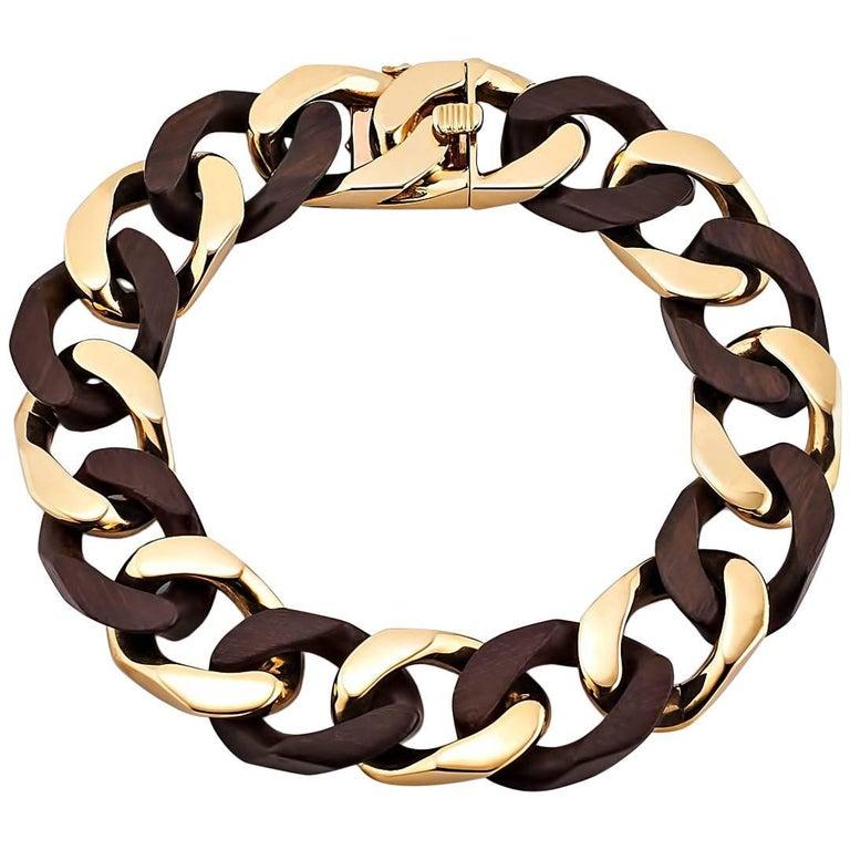 Van Cleef & Arpels 1970s Gold and Wood Curb Link Bracelet