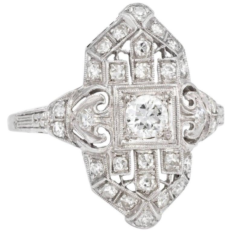 Art Deco Diamond Platinum Cocktail Ring