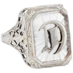 Art Deco Letter D Rock Crystal Cocktail Filigree Ring