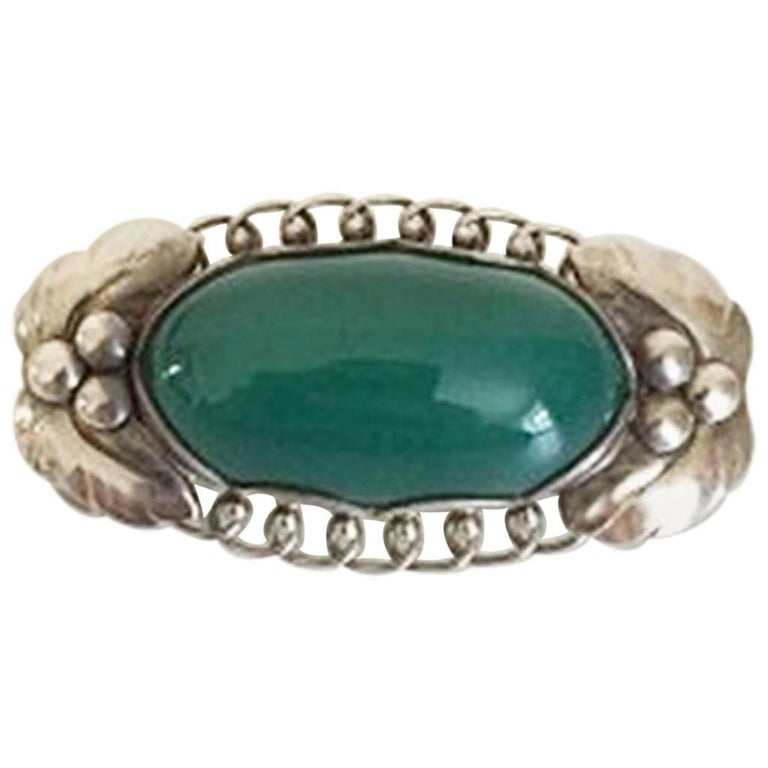Georg Jensen Sterling Silver Brooch #223 with Green Agate