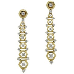 Yellow Gold Maria Canale Flexible Dangle Earrings with Diamonds
