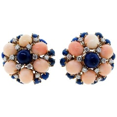 1960s 18 Karat Yellow Gold Coral Lapis and Diamond Earrings