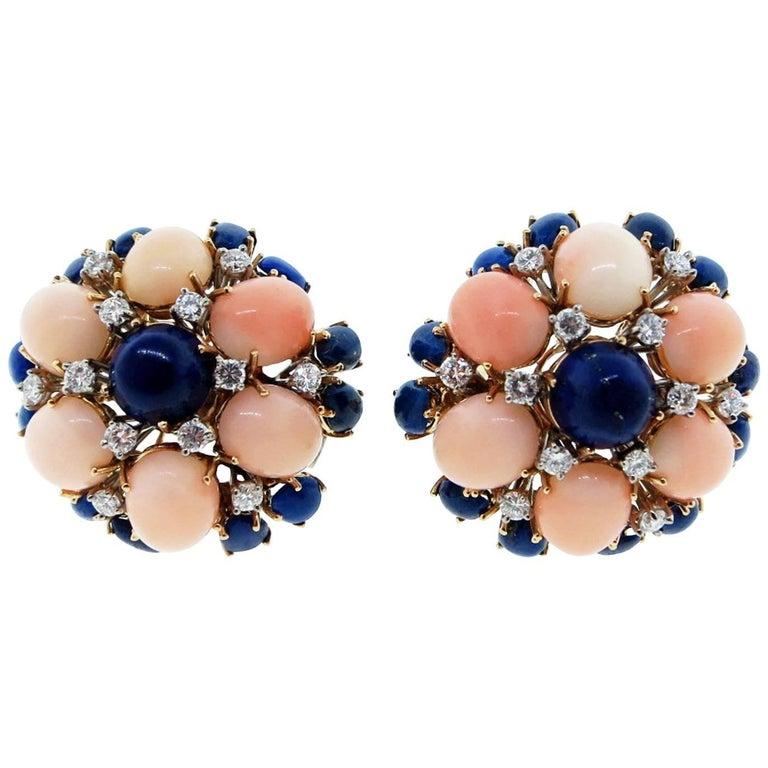 1960s 18 Karat Yellow Gold Coral Lapis and Diamond Earrings