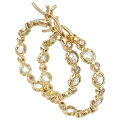 Hemera Rose-Cut Diamond Hoop Earrings 18 Karat Yellow Gold 0.881 Carat in Stock