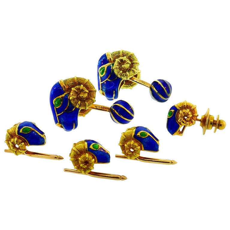 David Webb Enamel Yellow Gold Cufflinks Stud Set