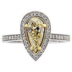 Mark Broumand 1.61 Carat Fancy Light Yellow Pear Shaped Diamond Engagement Ring