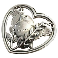 Georg Jensen Sterling Silver Heartshaped Brooch with Dove #239