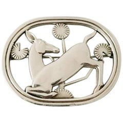 Georg Jensen Sterling Silver Brooch with Deer #256