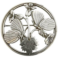 Georg Jensen Sterling Silver Brooch #283 with Butterfly Motif