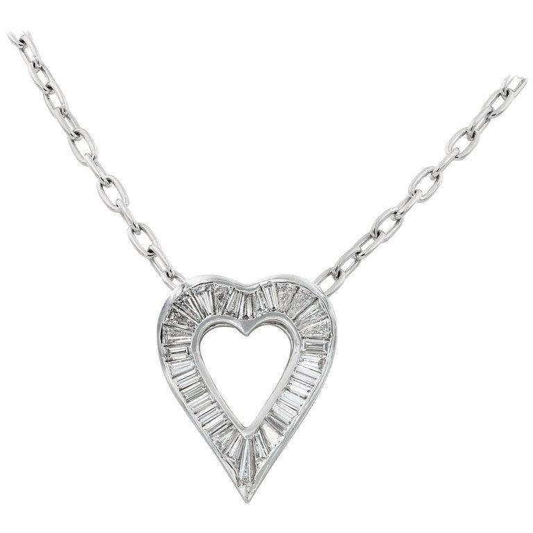 Lester Lampert Signature Large Baguette Diamond Heart Necklace