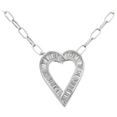 Lester Lampert Original Baguette Diamond Heart Necklace