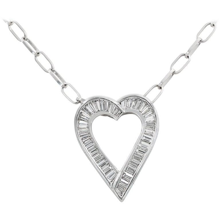 Lester Lampert Original Baguette Diamond Heart Necklace