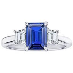 1.49 Carat Emerald Cut Blue Sapphire and Diamond Platinum Ring